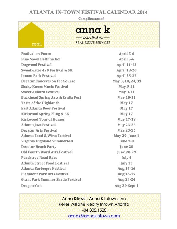 Atlanta Intown Spring & Summer Neighborhood Festival List by Anna K Intown Realtors