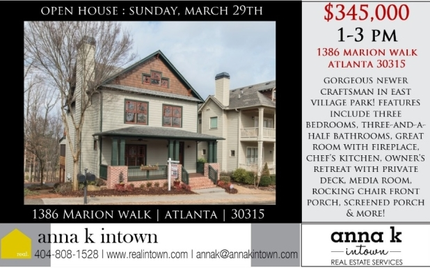 Open House this Sunday from 1-3! 1386 Marion Walk, Atlanta GA 30315