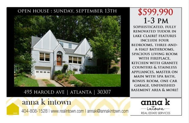 Open House this Sunday from 1-3 pm in Lake Claire!